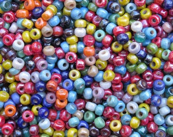 9x6mm (3mm hole) Opaque Assorted Colors Luster Mix Glass Crow Beads 40 Grams (AS4)