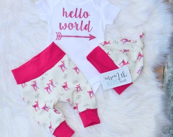 Hello world, baby,  newborn outfit, newborn outfit, newborn girl coming home outfit, take home outfit girl, baby girl, take home outfit