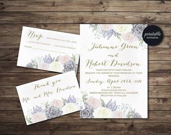 Floral Wedding Invitation, Succulent Wedding Invitation Set, Printable Wedding Invitation Winter, Pink Gray Ivory Boho Wedding Invite