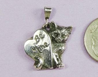Customized Kitten with Heart Pendant Sterling Silver,Cat of Mine Kitten Pendant,Valentine's Day Gift,Cat Lover Gift for Her,Silver Pendant