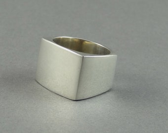 Square Silver Ring Made from 925 Sterling