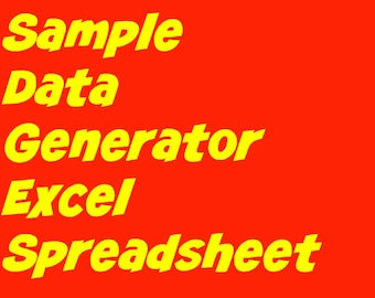 Sample Data Generator - Excel Spreadsheet Tool to create random sample data