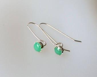 May Birthstone Earrings, Bezel Set Chrysoprase Earrings, Sterling Silver, 5mm, Handmade findings,Genuine Chrysoprase Gemstone, Jade Earrings