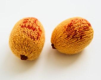 Abrikozen gebreide voedsel - doen alsof spelen vruchten - wollen Waldorf toys - klas educatief speelgoed - zacht stuk speelgoed abrikoos Speel keuken - foto prop