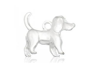 charm 3d animal dog pet silvered (C58)