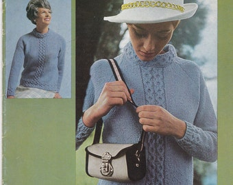 Paton's Knitting Pattern No 859  Ladies Town 'N Country in Pebble  (Vintage 1970s)