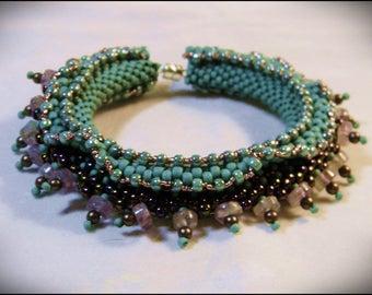 CLEARANCE SALE - Amethyst, matte turquoise & metallic colors -  Atlantis Bracelet - designed by Hannah Rosner