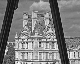 Paris Photo, The Louvre through the Famous Clock of d'Orsay, Black and White 'fade' 8x12