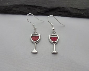 Wine Earrings, Wine Glass Earrings, Red Wine, Charm earrings, Silver, Wine Jewellery, Wine Gift, Red Wine Gift, Gift For Her, Drinks