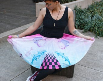 Vaporwave Skater Skirt - Aesthetic Pink and Blue Skirt - One Size and Plus Size
