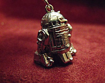 Silver Pendant Necklace,   Star Wars Necklace R2D2 Droid Pendant  Mens Womens Gift  Handamde