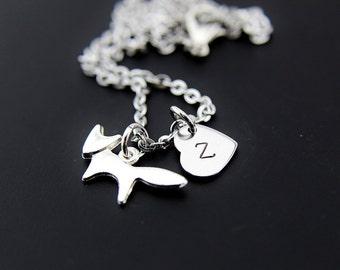Silver Fox Charm Necklace, Fox Charm, Personalized Necklace, Initial Charm, Initial Necklace, Customized Jewelry, Monogram Jewelry