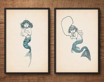 Nursery Wall Art, Mermaid Print Set, Mermaid Wall Decor, Princess Wall Art, Fairy Tale Art, Nursery Room Decor, Kids Room Decor
