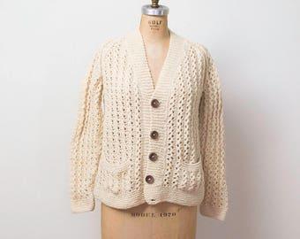 1970s Irish Fisherman's Cardigan / 70s Cream Wool Sweater