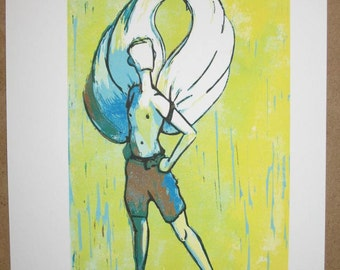 Icarus linocut reduction print mythology