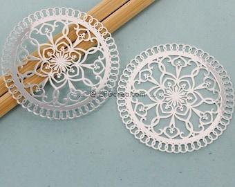 2 prints - round stylistic - silver filigree - 47 mm Diam # F01