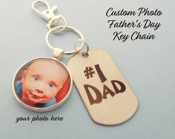 Father's Day Keychain, Child's Gift to Dad, Daughter to Father Gift, Father's Day Gift, Custom Photo Gift for Dad, Son's Gift for Dad