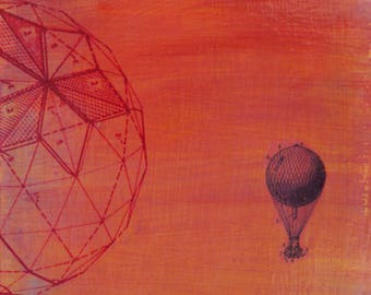 original small affordable art - Sunset Balloon - one of a kind small acrylic painting by Irene Stapleford - wantknot shop