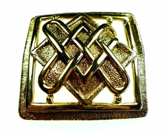 Belt buckles, vintage gold tone metal