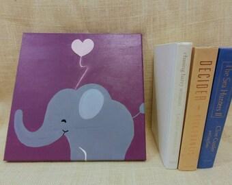 I Love Elephant  Baby Kids Room Canvas Original Acrylic Painting 12×12