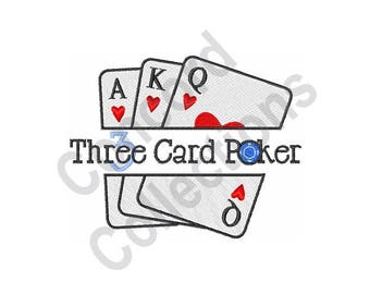3 Card Poker - Machine Embroidery Design, Poker, Playing Cards
