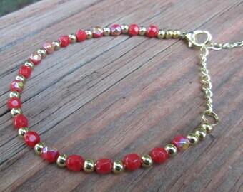 Red & Gold Anklet