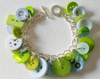 Button Bracelet Lime Green and Periwinkle Blue