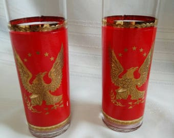 Vintage Libbey Red and Gold Eagle Glasses - Set of 2