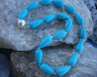 "Magnesite necklace ""Turquoise Colors"" #499"