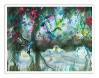 Colibry birds, exotic landscape, painted birds pair, Amazon River, wedding gift, giclee print on canvas by silk painting, Bistra Sirin's Art