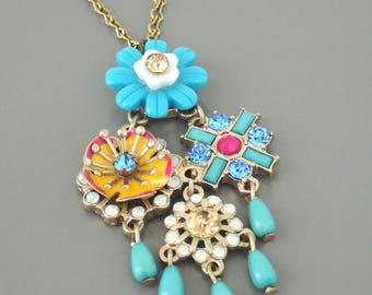 Vintage Inspired Necklace - Flower Necklace - Crystal Necklace - Blue Necklace - White Necklace - Chloes vintage Jewelry - Handmade Jewelry
