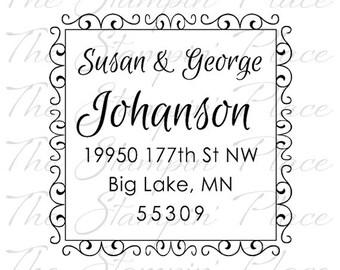 Custom Address Stamp - Scroll Square Address PR451