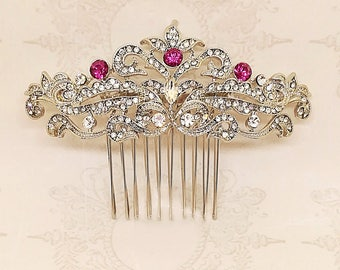 Vintage hair comb, Art Deco jewelry, marsala hair comb ,crystal hair comb, Bridal Jewelry, Marsala Crystal Comb, Bridal Hair Comb