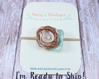 Small Champagne Mini Flower Leaf Newborn Headband/Ready to Ship/ Newborn Headband/ Baby Headband/ Flower Girl/ Wedding/ Photo Prop