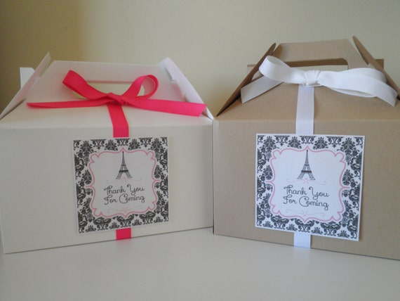 Set Of 6 Deluxe Gable Boxes With Labels Ribbons Paris
