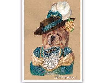 Chow Chow. Lady in Turquoise / Chow Chow Art Print / Lady Dog Portraits by Animal Century