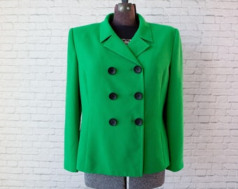 Kelly green blazer, double breasted jacket, bright Le Suit Petite blazer, grass green vintage jacket, double breasted green textured blazer