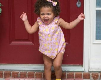 Pink Lemonade Romper, Lemon Romper, Baby Girl Romper, Strawberry Lemonade Romper, Summer Romper, Bubble Romper, Toddler Romper