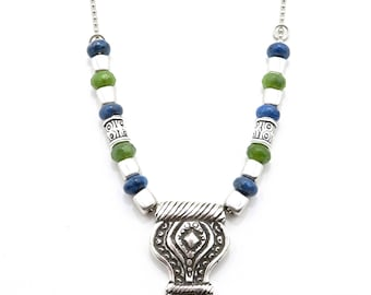 Rustic Silver Pendant Necklace, Chunky Silver Necklace, Colorful Pendant Necklace, Blue Green Necklace, Blue Green silver pendant necklace
