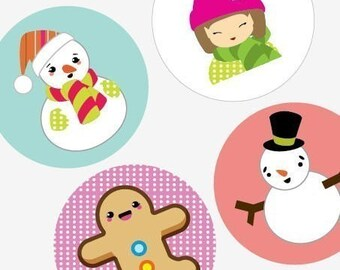 Charming Snowmen and Friends - Xmas Images - One (1x1) Inch (25mm) Round Pendant Images - Digital Colalge Sheet - Buy 2 Get 1 Free