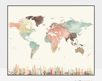 World map art, World map poster, World map wall art, map watercolor print, Pastel, Large world map, Travel map, home decor, ArtPrintsVicky