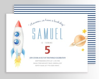 Outer Space Birthday Invitation, Space Birthday, Planet Birthday, Outer Space Invitation, Solar Invitation, Printable Space Invitation