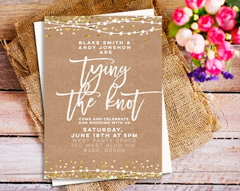 Rustic chic wedding invitations, tying the knot invitations, Tie The Knot Invites, kraft wedding party invitation, kraft card invitations