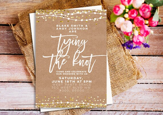 The Knot Addressing Wedding Invitations: Rustic Chic Wedding Invitations Tying The Knot Invitations
