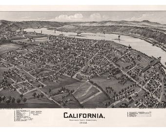 California, Washington County, Pennsylvania. Antique Birdseye Map; 1902