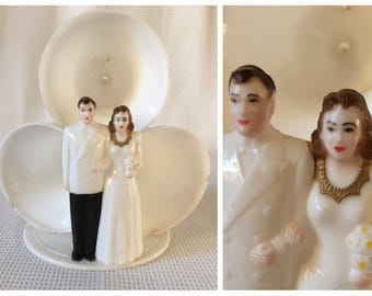 1940's-50's plastic wedding cake topper