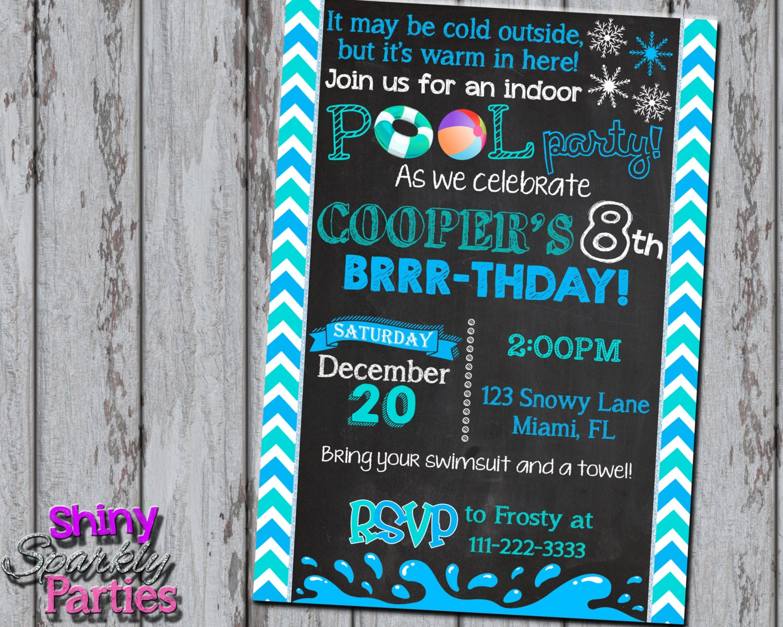 Winter pool party invitation winter birthday invite indoor zoom stopboris Images