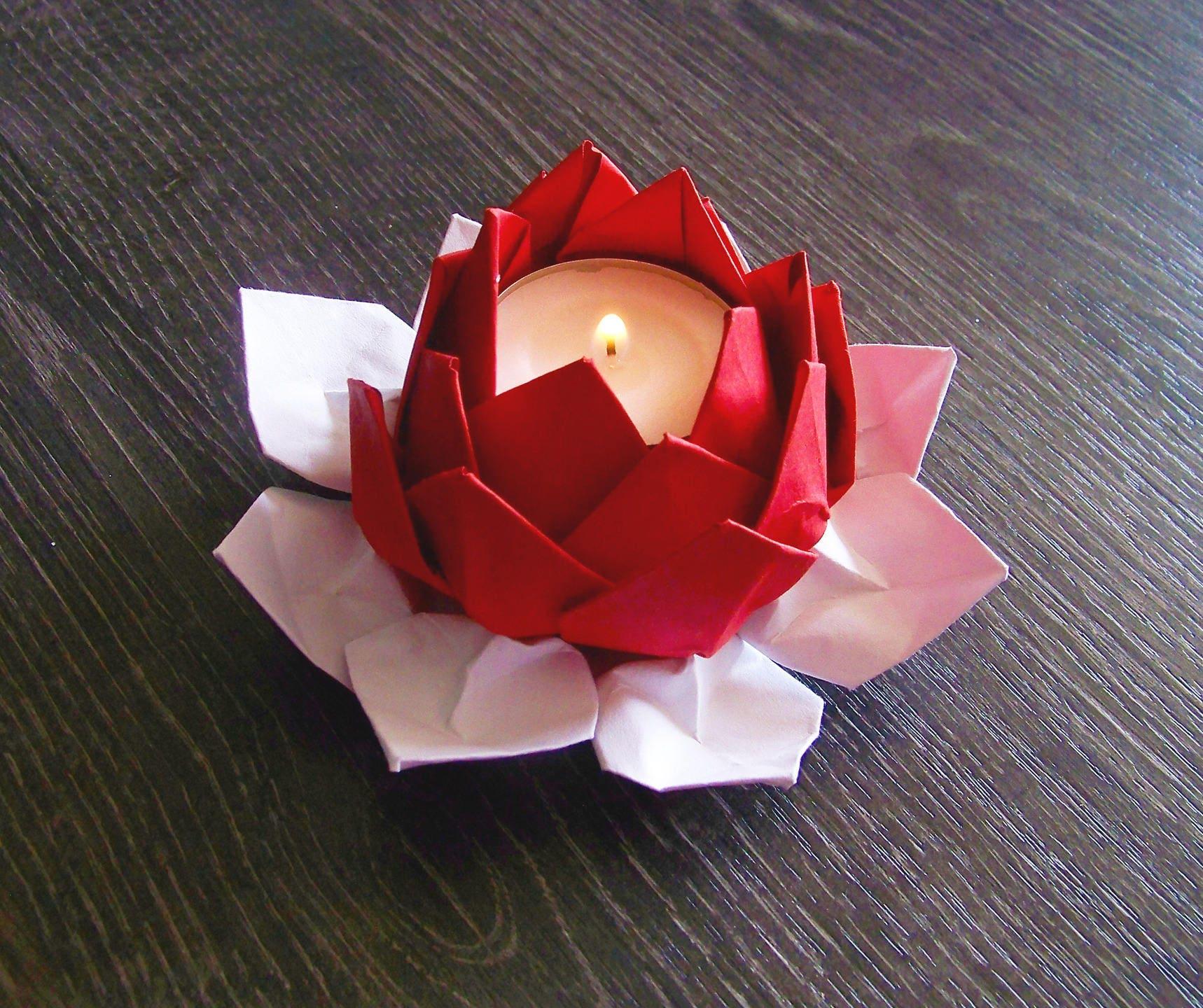bougeoir photophore fleur de lotus en origami rouge et blanc. Black Bedroom Furniture Sets. Home Design Ideas