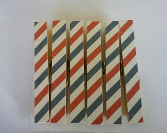 Airmail Stripe fridge magnets clothespins pegs