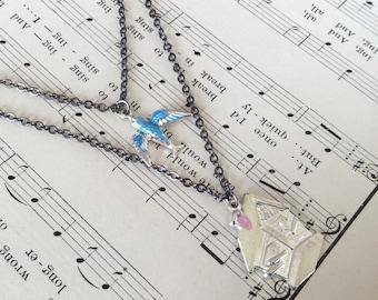 Bird & Birdhouse Necklace